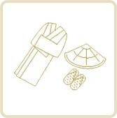 納棺用品 (編み笠・草鞋・白装束)